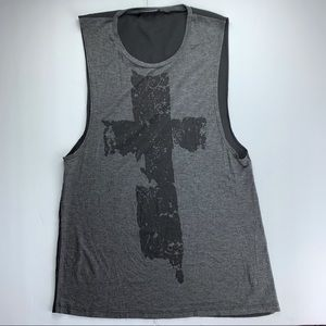See you Monday gray and black tank top, small